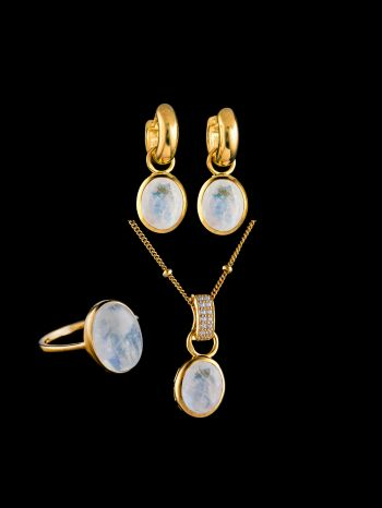 Moonstone silver jewelry set in a gift-box, gold-plated
