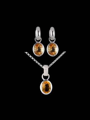 Citrine silver jewelry set with changeable charms