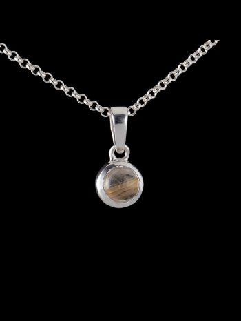 Small golden rutile quartz silver pendant