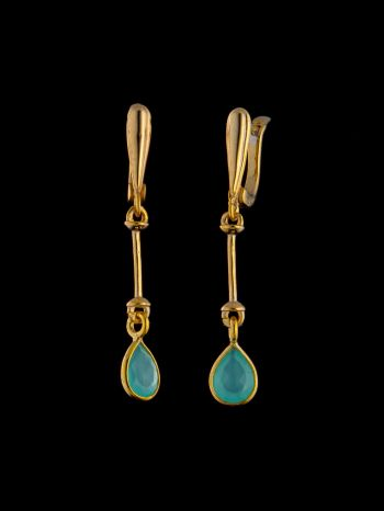 Gold plated chalcedony silver earrings