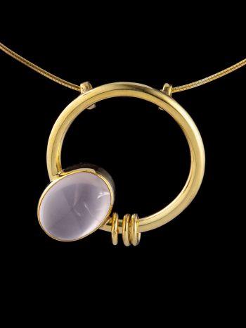 """Sensuality"" Rose quartz gold plated silver pendant"