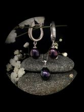 Black pearl silver set with 45cm silver chain