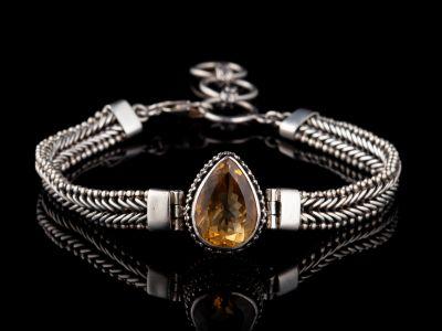Citrine Silver Bracelet, for bigger wrist - 25 m