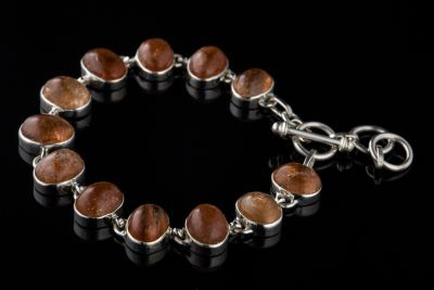 Sunstone Silver Bracelet