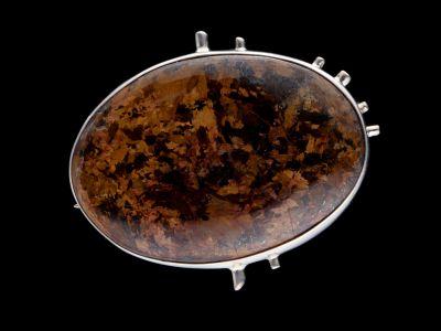 Bronzite Silver Brooch