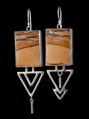 Mookaite Silver Earrings