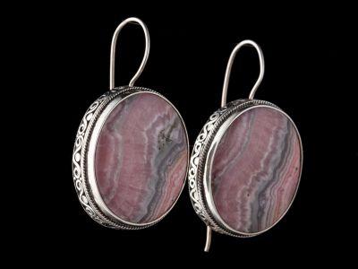 Rodochrosite Silver Earrings