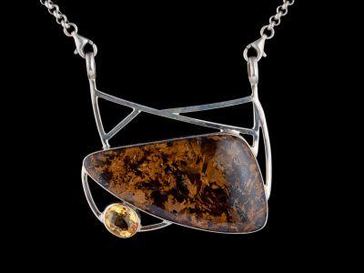 Citrine And Bronzite Silver Pendant