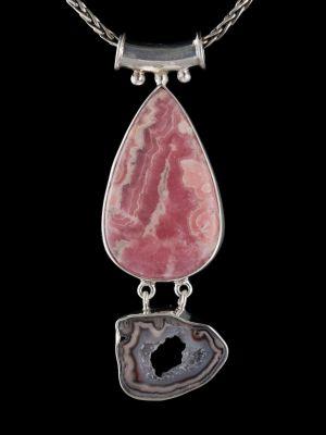 Druzy And Rodochrosite Silver Pendant