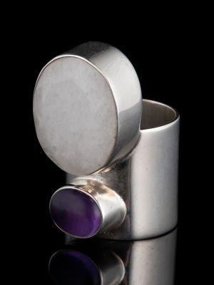 Amethyst And Quartz Silver Ring