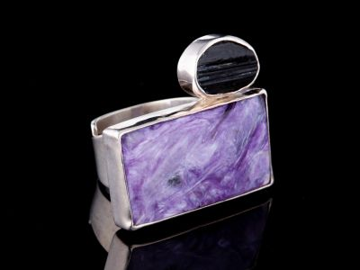 Charoite, Black Tourmaline Silver Ring