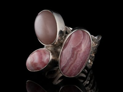 Rodochrosite And Indian Moonstone Silver Ring