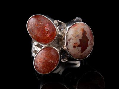 Fire Agate, Sunstone Silver Ring