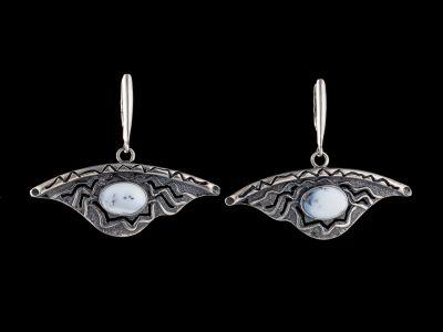 Agate silver earrings
