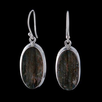 Labradorite rough silver earring