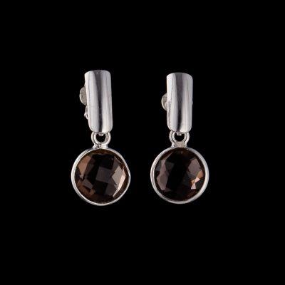 Smokey quartz silver earrings