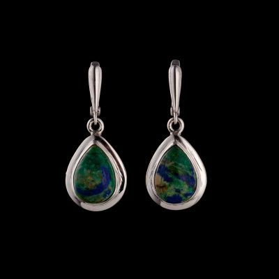 Azurite-malachite silver earrings