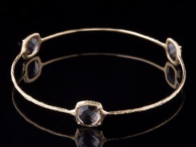 Three Smoky Quartz And 14K Gold bracelet