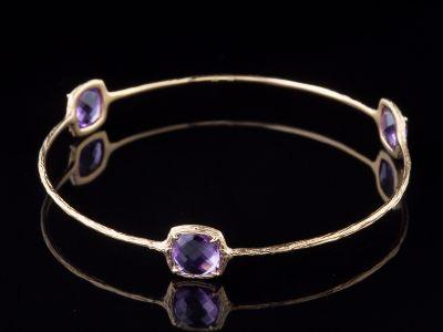 Three Amethyst 14K Gold Bracelet