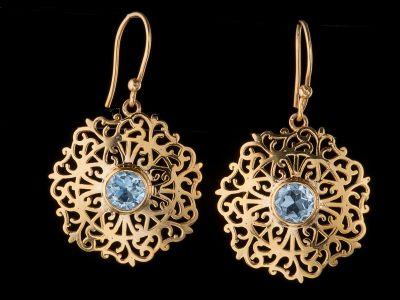 Blue Topaz 14K Gold Earrings
