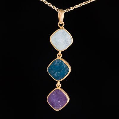 Mixed Stone 14K Gold Pendant
