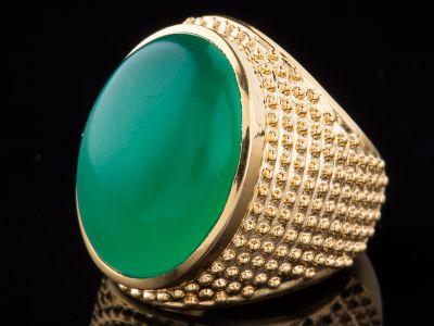 Green Onyx 14K Gold Ring