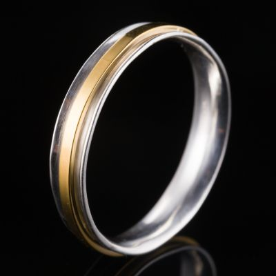 Silver ring with 14K gold - for couples