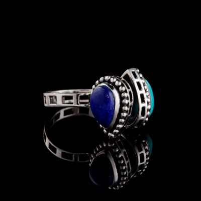 Turquoise And Lapis Lazuli Silver Ring