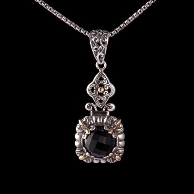 Onyx silver pendant with 18K gold
