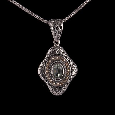 Green ametyst silver pendant with 18K gold