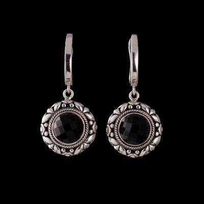 Faceted Onyx Silver Earrings