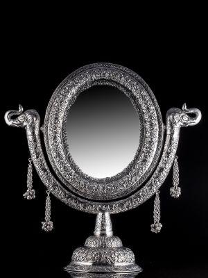 Indian White Metal Mirror - Smaller