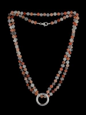 Moonstone necklace with silver ring (expandable)