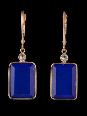 White sapphire and lapis lazuli 14K Gold earrings