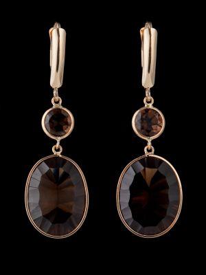 Smoky quartz 14K Gold earrings