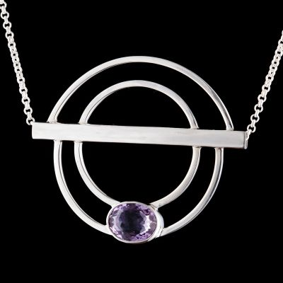 """Silver Pendant """"Oneness"""" with Amethyst"""