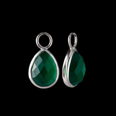 Green onyx silver ear charms