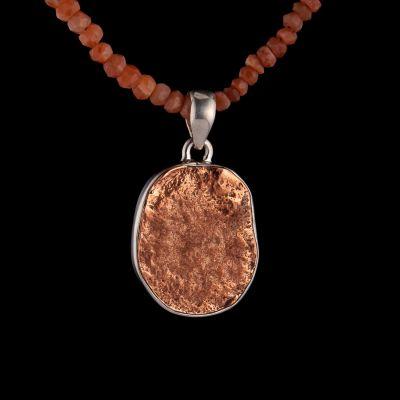 Copper nuggets silver pendant