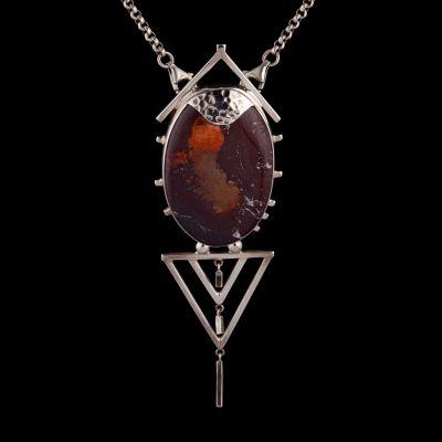Jasper silver pendant