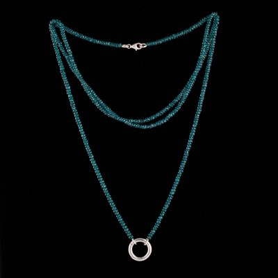 Apatite necklace with silver ring (openable)
