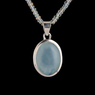 Chalcedony silver pendant