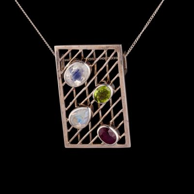 Garnet, Peridot, Rainbow Moonstone Silver Pendant
