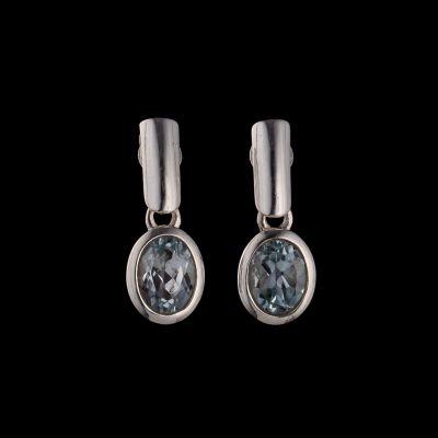 Blue topa silver earring