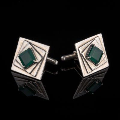 Green Onyx Silver Cufflinks