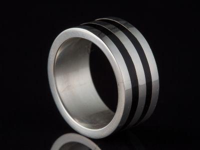 Black Resin Silver Ring For Men