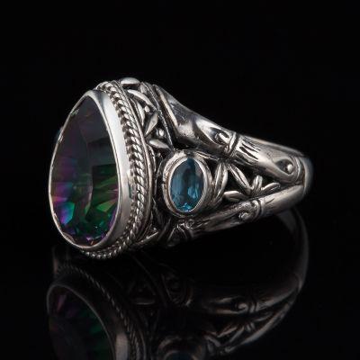 Mystic Quartz And Blue Topaz Silver Ring