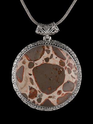 Leopard Jasper Silver Pendant