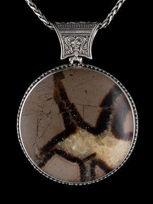 Septarian Silver Pendant