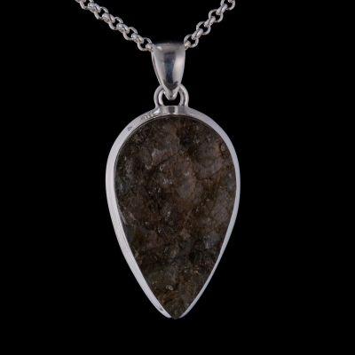 Labradorite rough silver pendant