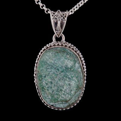 Fuchsite silver pendant